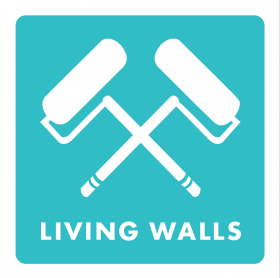 Living Walls' insignia: crossed paint rollers
