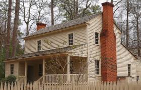 The Smith Family farm house as it sits at the Atlanta History Center.