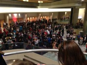 Dragon Con attendees crowd in the Marriott Marquis.