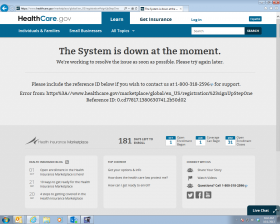 A screenshot of an error message from healthcare.gov.