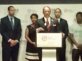 National Urban League President Marc Morial (center) announced the Jobs Rebuild America grants at a news conference in Atlanta Friday. Nancy Flake Johnson, President of the Urban League of Greater Atlanta, stands to his right.