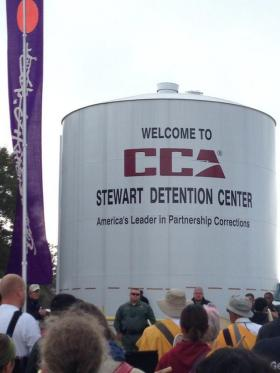 Protesters gather outside Stewart Detention Center in Lumpkin, Georgia in an attempt to shut the center down.