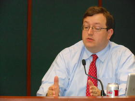 In this file photo, Sen. Joshua McKoon (R-Columbus), speaks at a committee meeting on December 21, 2012.