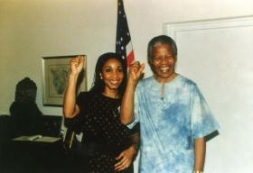 In this 1991 photo, Dr. Helene Gayle poses with Nelson Mandela at the residence of then-U.S. Ambassador to South Africa William Swing.
