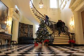 Inside the main entrance of the Swan House.