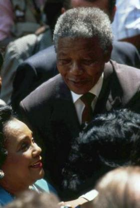 Nelson Mandela with Coretta Scott King during his 1990 visit to Atlanta.