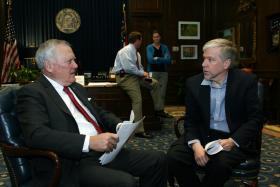 In this file photo, Governor Nathan Deal (R-Georgia) speaks with WABE's Denis O'Hayer in the Governor's office on January 13, 2014.