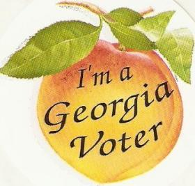 This sticker, handed to voters at Georgia polls, will be distributed earlier than usual in 2014, thanks to a change in the schedule for the Democratic and Republican primaries.