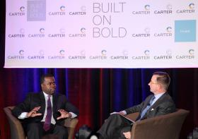In this WABE file photo, at the Atlanta History Center at The Carter Breakfast.Mayor Kasim Reed talks about how to attract the best candidate for the school system.