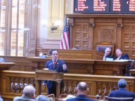 Curt Thompson (D-Tucker) argues against legislation to move state and local primaries to May 20.