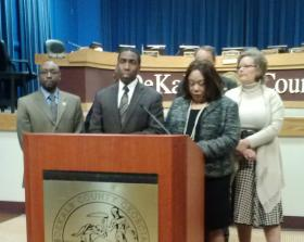 DeKalb County Commissioners answer questions following their approval of a new budget.