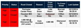 Road closings in DeKalb County as of 6:45 a.m. this morning.