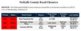 DeKalb Co. road closings as of 8:15 a.m. today.