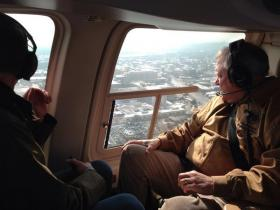 Gov. Deal, surveying the damage in the Augusta area by helicopter.