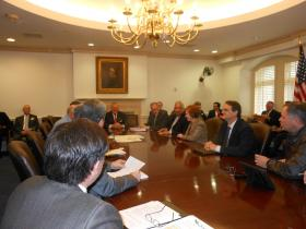 Gov. Deal meets with agency heads Monday morning before the winter storm.
