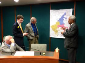 State Rep. Roger Bruce (D-61st District, Atlanta) discussing the South Fulton cityhood proposal with members of the Georgia Senate in early March, 2014.