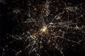 Atlanta as seen at night from the International Space Station, 2013.