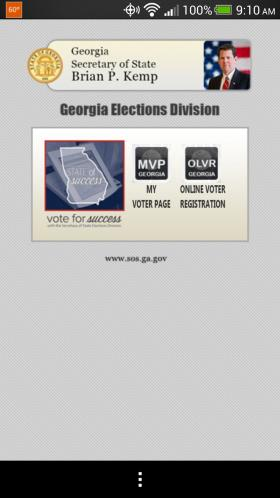 "Screenshot of new Georgia voter registration app for Android and iPhone. Search for ""GA Votes"" in Google Play or the Apple store."