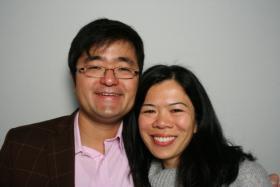 Masahiro Ishigami and Song Seto in the StoryCorps booth.