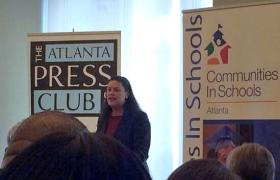 APS superintendent, Dr. Meria Carstarphen at the Atlanta Press Club luncheon sponsored by Communities in Schools, an organization that works to prevent students from dropping out.