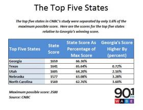How the five highest-ranked states compared.  Georgia led Texas for the #1 spot by less than one percent.