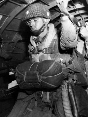 A paratrooper about to jump into combat on D-Day, on June 6, 1944
