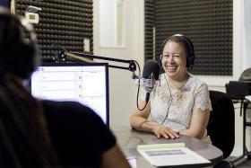 Spelman College president Dr. Beverly Tatum in WABE studio 4.