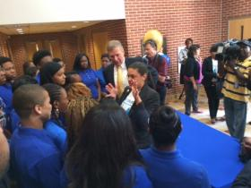 APS superintendent Dr. Meria Carstarphen stands with Georgia Tech president Dr. Bud Peterson at Booker T. Washington High School Thursday. The pair just announced a program that will give top APS students full scholarships to Ga Tech.