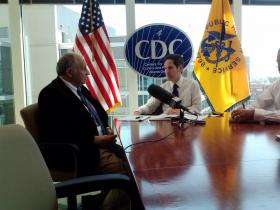 Dr. Pierre Rollin (L) and CDC Director Tom Frieden (R) discuss Rollin's work fighting Ebola in Guinea, West Africa. WABE was the only station invited to Wednesday's update.