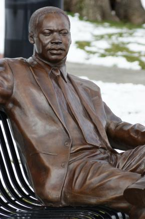 "Statue entitled ""Martin Luther King, Jr., In Thought"" at High Point University, High Point, North Carolina"