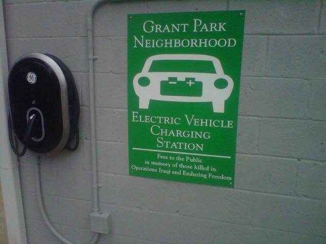 A charging station in the Grant Park neighborhood.