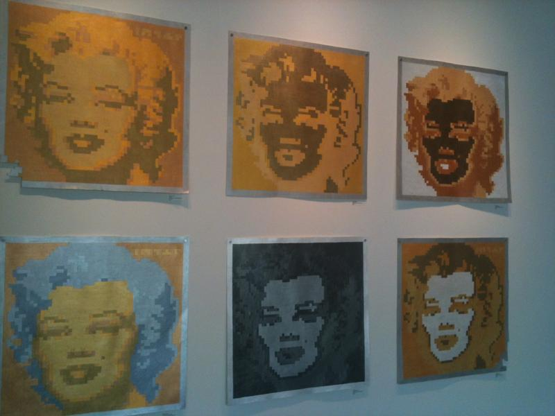 """Ashley Anderson's """"Shinobi Marilyns"""" at the Emily Amy Gallery in 2012."""
