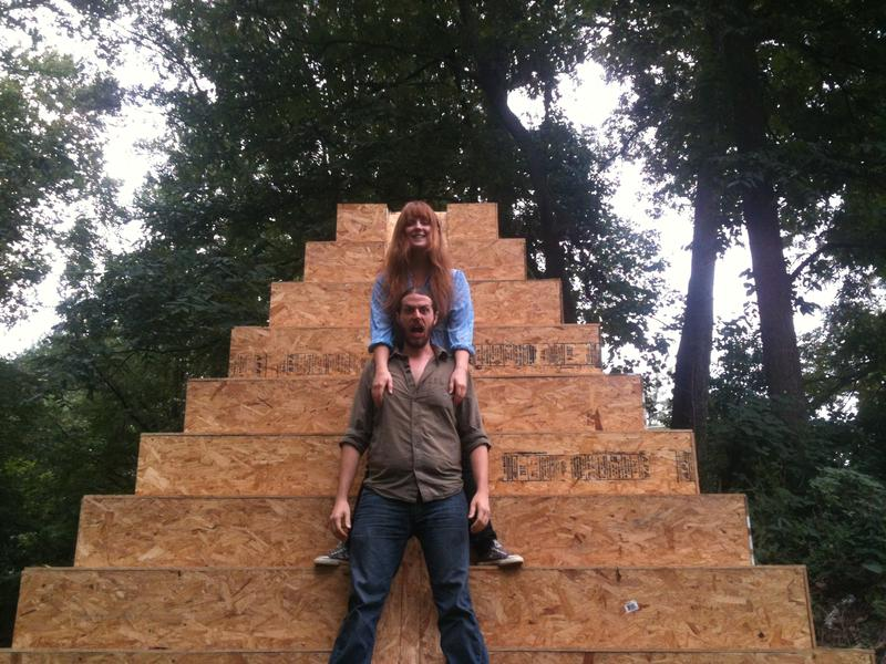 Adron and bandmate Colin Agnew on the pyramid