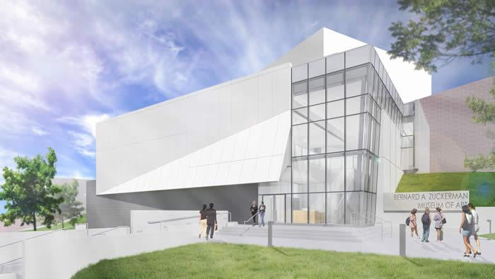 Architect rendering of the Bernard A. Zuckerman Museum of Art