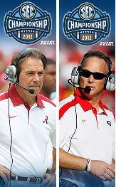 Alabama head football coach Nick Saban (l) & Georgia head football coach Mark Richt..