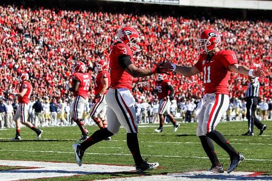 Todd Gurley and Aaron Murray of Georgia.