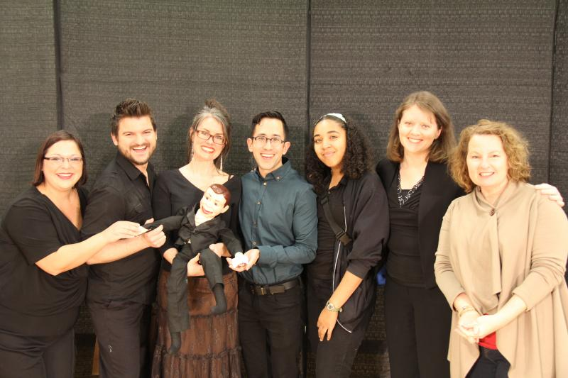 "Cast and creators of ""The Judges' Favorite Award,"" ""The Puddle of Youth."" (L to R) Arsenia Soto, Brandon Odom, Music Director Erin Palmer (holding ""Dummy""), Director Matthew Ozawa, Stage Manager Jessica Drayton, Natalie Williams & Vynnie Meli"