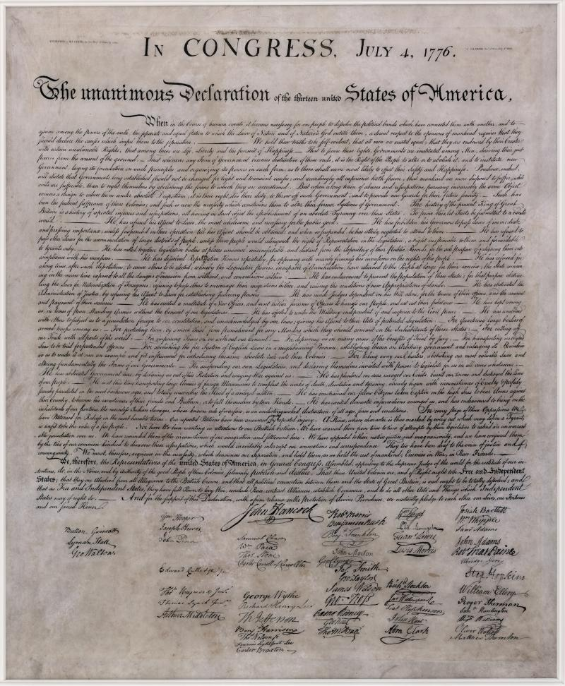Declaration of Independence, engraving by William Stone, 1823