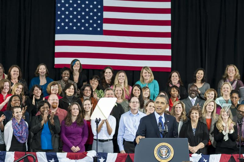 President Barack Obama speaking at the Decatur Recreation Center
