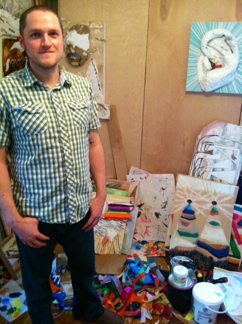 Artist Nick Madden inside his Decatur studio