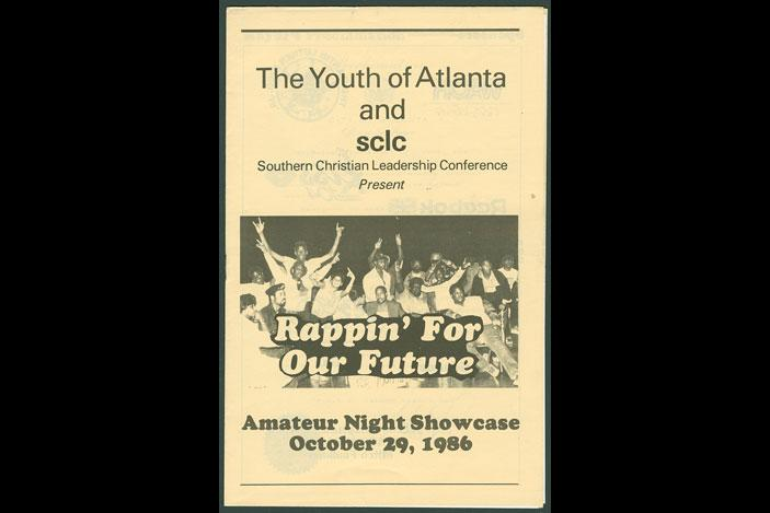 Souvenir program, Rappin' for Our Future talent showcase, 1986