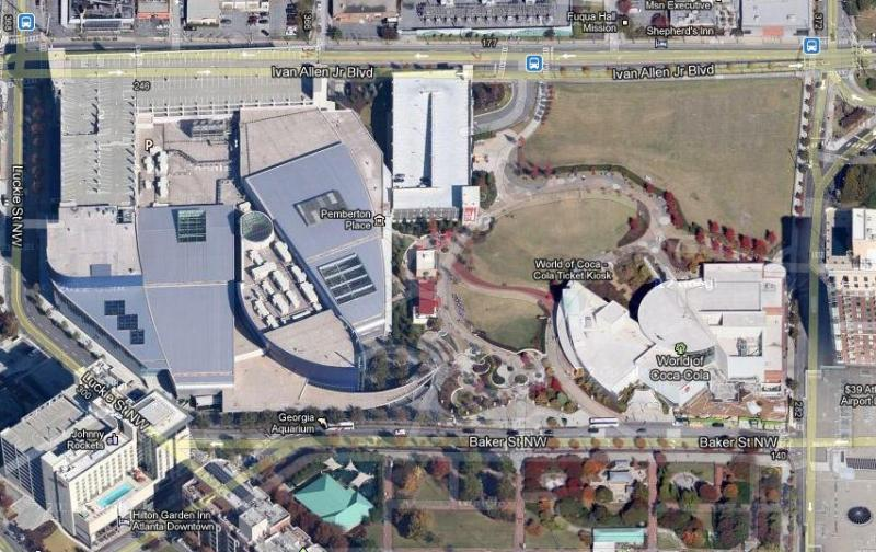 Satellite view of Centennial Park site near the Georgia Aquarium and the World of Coca-Cola Museum