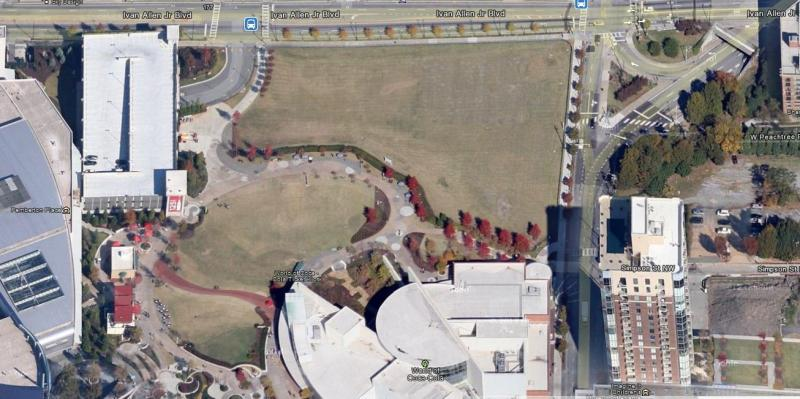 Closer satellite view of the 2.5 acre Centennial Park site, which was donated by The Coca-Cola Company