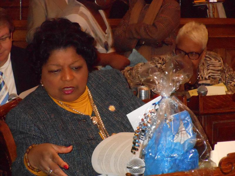 Sen. Gail Davenport (D-Jonesboro), working to keep up with the flow of bills.