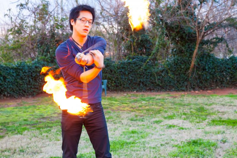 Myron Lo is a fire spinner with The Imperial Opa circus.