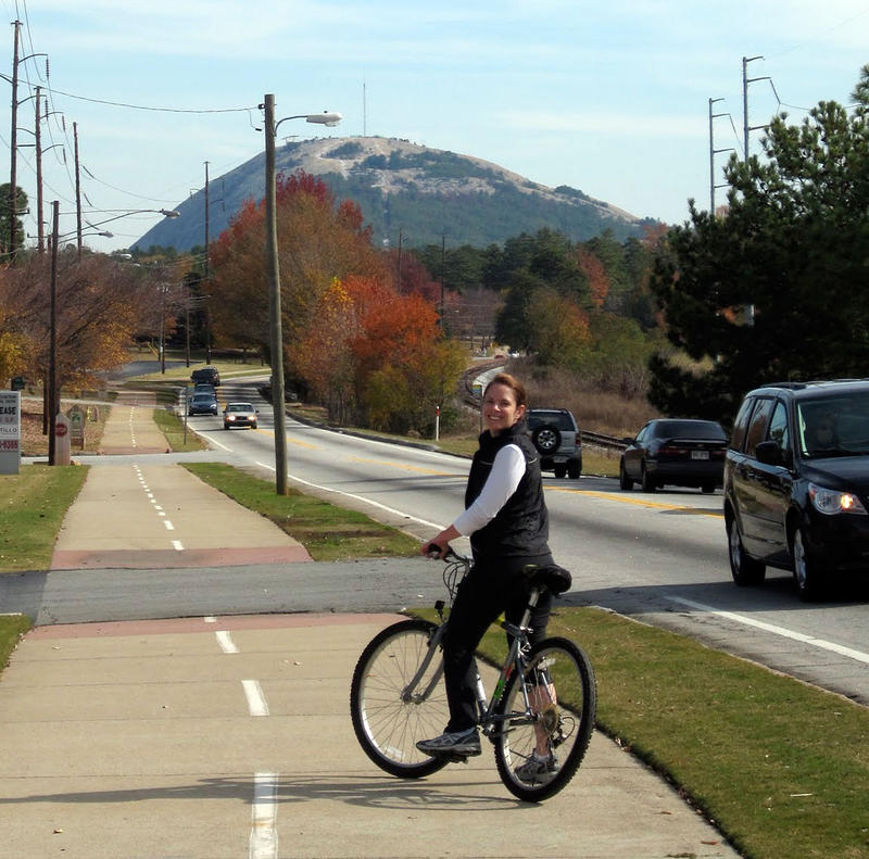 Listener Cullen Boudreaux rides the PATH trail to Stone Mountain.