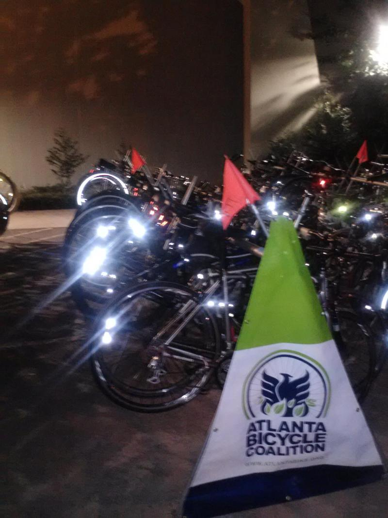 Listener Leslie Caceda writes, 'Having bike valet at fun Atlanta happenings is one of my favorite aspects of cycling in Atlanta.' Pictured here: the Music Midtown Bike Valet this past summer.