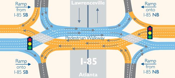 A rendering of the diverging diamond intersection being installed on the Pleasant Hill Road bridge over I-85 this weekend.
