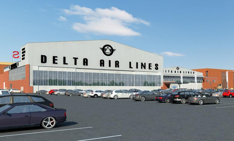 This rendering is what the entrance to the new Delta Flight Museum will look like.