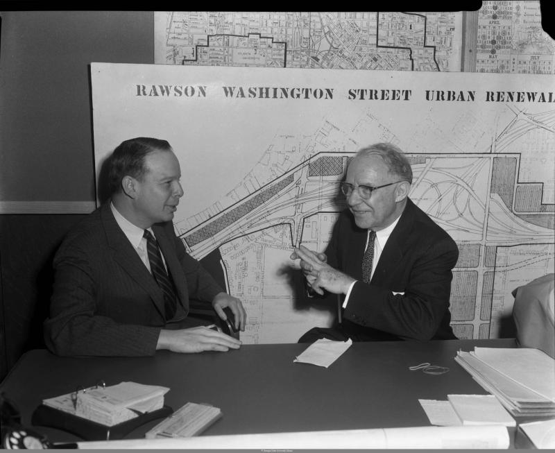 Cecil Alexander (left) sitting with Atlanta Mayor William B. Hartsfield (right) in 1958.